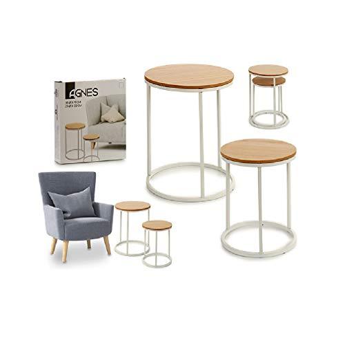 takestop® Bijzettafel, rond, multifunctioneel, van hout, met poten van metaal, 35 x 35 x 41 cm, 2 stuks voor slaapbank, slaapkamer. Wit