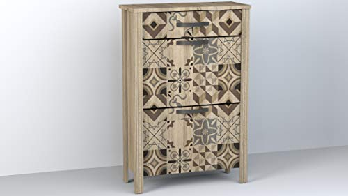 Miroytengo Zapatero diseño Retro 1 cajón 2 Puertas cerámica Vintage Tirador Dorado Mueble recibidor 66x28x99 cm