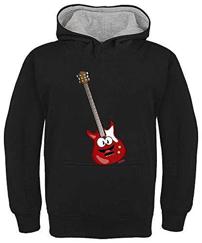 Hariz - Felpa con cappuccio per bambini, motivo: chitarra elettrica, con scritta in lingua inglese