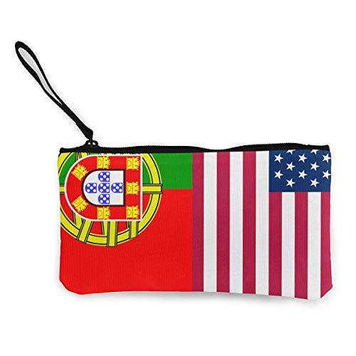 Monedero de lona de la bandera de Portugal de Estados Unidos para mujeres y niñas exquisito bolso de cosméticos bolso de la cartera