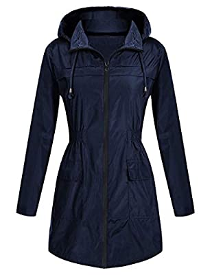 Bemobeauty Women's Lightweight Waterproof Rain Jacket Outdoor Active Windbreaker Long Hooded Raincoat ?S-XXL?