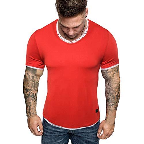 UINGKID Herren T-Shirt, Rundhals-Ausschnitt Slim Fit Männer O Ansatz Reine Farben-spleißendes Muster-beiläufiges Art- und Weiserevers kurzes Hülsen-Hemd