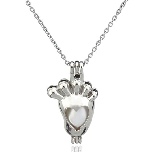 Horse Beads Cage, Horse Locket Necklace, Stainless Steel Chain, Create Your own Pearls, Stones, Rocks (Footprint)