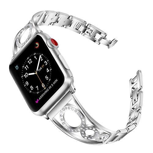 Fhony Compatible con Correa Apple Watch 38mm 40mm 42mm 44mm Pulsera de Acero Inoxidable con Diamante Correa Mujer para Diamand Pulsera Ajustable para Iwatch Series 6/5/4/3/2/1/SE,Plata,38/40mm