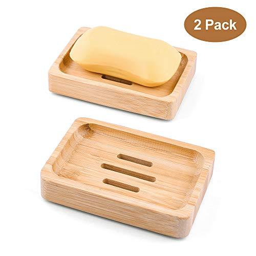 Mutsitaz 2 Stück Bambus-Seifenhalter aus Naturholz Handarbeit Seifenschale für Seife oder Schwamm Aufbewahrung