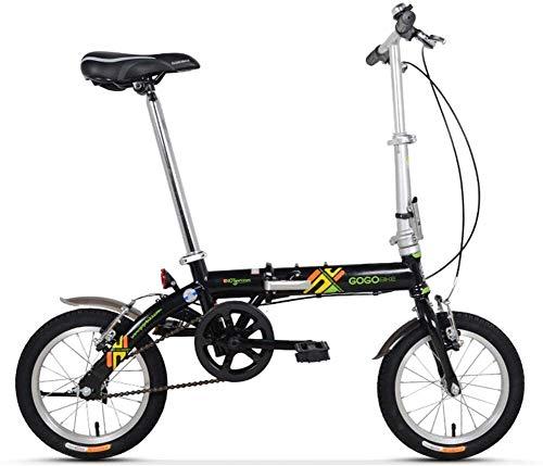 Aoyo Erwachsene Bikes Folding, Unisex Kinder Single Speed faltbares Fahrrad, leichte, tragbare Mini 14-Zoll-verstärkten Rahmen Commuter Bike, (Color : Black)