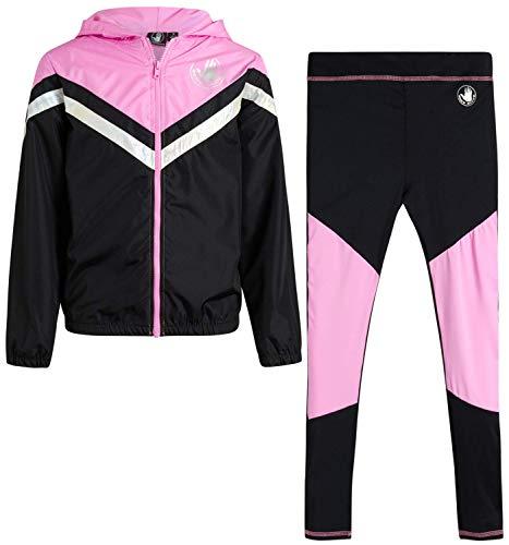 Body Glove Girls' Tracksuit - 2 Piece Windbreaker Jacket and Active Leggings Sweatpants Set, Size 7, Hot Pink/Black