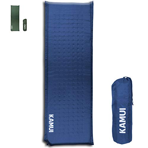 KAMUI Self Inflating Sleeping Mat 5 cm Thick Pad Connectable with Multiple Mattresses for Tent and Family Camping (Blue)
