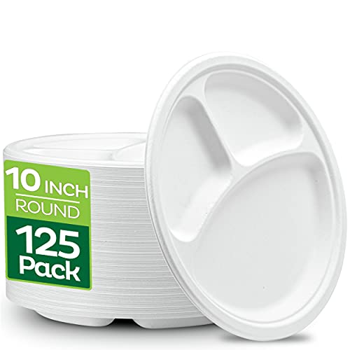 100% Compostable 10 Inch Heavy-Duty Plates [125-Pack] 3 Compartment...