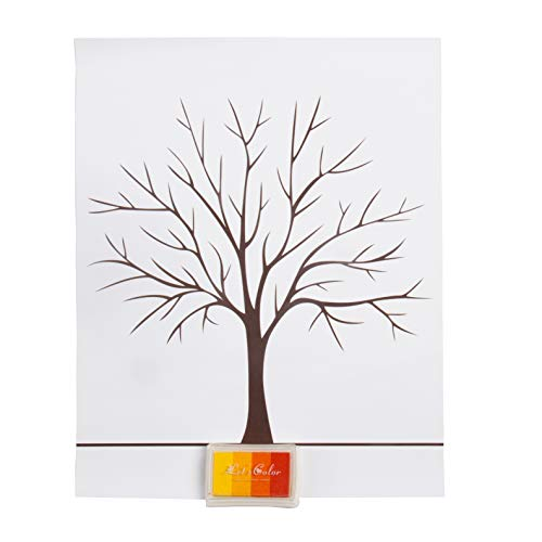 FISHSHOP D'empreintes Digitales d'arbre, Arbre de Mariage, Arbre Souhaitant, Tableau de Signature DIY Toile Peinture Décorations