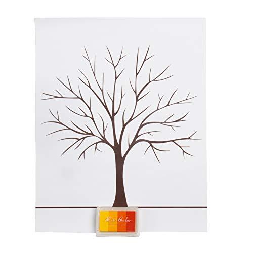 Fingerabdruck Baum Wedding Tree kundenspezifisches Hochzeits Gästebuch Hochzeits Gästebuch Plakat mit 4 Farben Tinte
