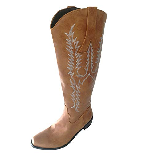 ABsoar Mittellange Stiefel Damen Leder Overknee Boots Sexy Klassische Runde Zehenstiefel Western Knight Boots Cowboy Knie Hoch Stiefel Mit niedrigen Absätzen