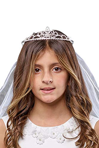 Girls' First Communion Rhinestone Crown Veils 034