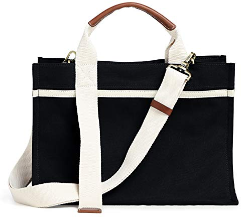 Women's Designer Canvas Hobo Shoulder Bag, Ladies Stylish Work Canvas Tote Bag Utility Satchel Bag Simple Hobo Crossbody Bag Black Size: L