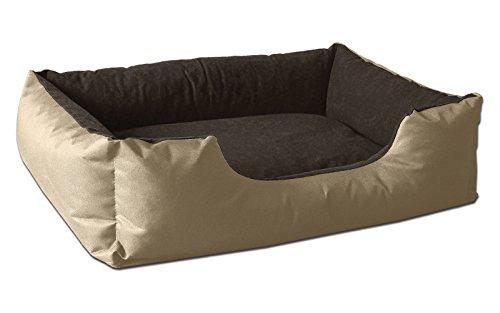BedDog® Hundebett LUPI, Hundesofa aus Cordura, Microfaser-Velours, waschbares Hundebett mit Rand, Hundekissen Vier-eckig, für drinnen, draußen, S, NAMIBSAND, beige-braun