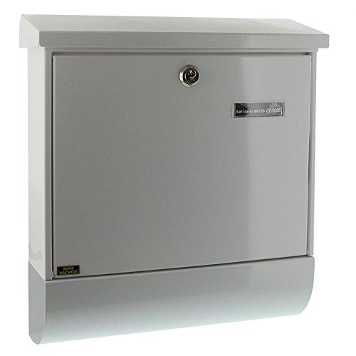 BURG-WÄCHTER, Briefkasten-Set mit Zeitungsbox A4 Einwurf-Format, Verzinkter Stahl, Set Vario W, Weiß