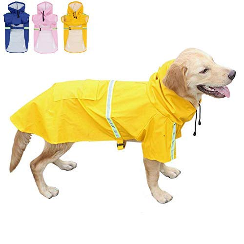 FEimaX Dog Raincoats Rain Poncho Coat Waterproof Rain Jacket with Hood for Medium and Large Dogs, Lightweight Hoodies Pet Windproof for Outdoor Walking (3XL (Chest: 29.1'', Body 23.6''), Yellow)