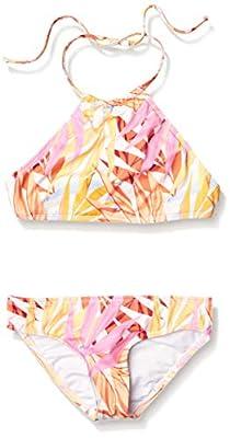 Billabong Girls' High Neck Two Piece Bikini Swim Set, Tropical, 8