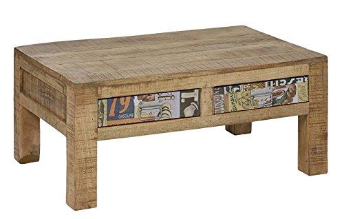 Table Basse 90x60cm - Bois Massif de manguier laqué - Imprimé Multicolore - Style Urbain - Detroit #43