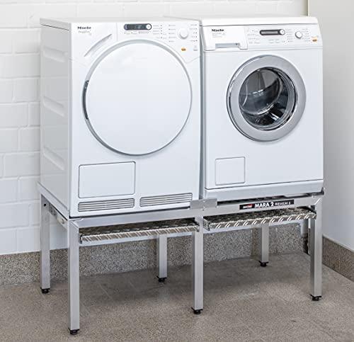 Waschmaschinen Untergestell DAS Original Mara 2, 50 cm hoch 6 Beine 2 Auszüge Made in Germany speziell auch für stark schwingende Maschinen Extra verstärkte Alu-Ausführung