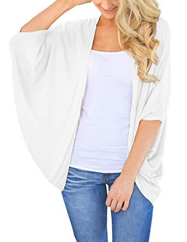 BB&KK Damen Kimono, leicht, Baumwolle, 3/4 Fledermausärmel, einfarbige Farben - Weiß - Klein