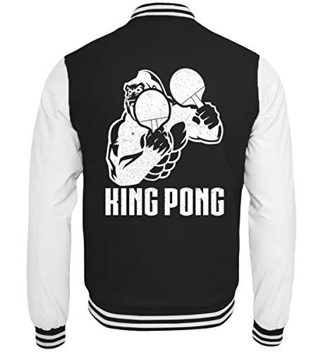 King Pong College - Sudadera, diseño de ping pong blanco y negro S
