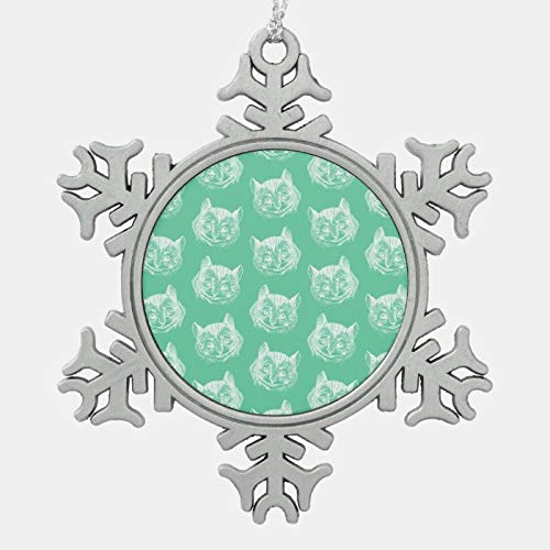 Christmas Ornament, Cheshire Cat Alice in Wonderland Vintage Art Green Snowflake Pewter Christmas Ornament, Xmas Tree Hanging Decorations, Home Decor, Keepsake Gift, 3 Inch Snowflake Ornament