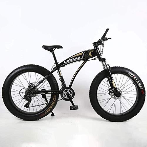 GLJY Fat Tire Adult Mountainbike, leichte Cruiser-Bikes mit hohem Kohlenstoffgehalt, Beach Snowmobile Herrenfahrrad, Doppelscheibenbremse 26-Zoll-Räder,Schwarz,7speed