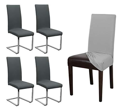 BEAUTEX 4er Set Jersey Stuhlhusse, elastische Stretch Husse Baumwolle Bi-Elastic, Farbe wählbar (Anthrazit)