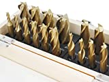 Accusize Industrial Tools 20 Pc Hss Tin Coated End Mill Set, 2 Flute and 4 Flute, Cutting Diameter from 3/16'' up to 3/4'', 1810-0100