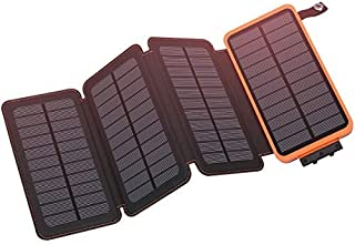 Micoo Portable 10000mAh Solar Charger with Multifunction Flashlight, 4 Foldable Solar Panels solar Power Bank, Dual USB External Battery Backup, Waterproof Phone Chargers