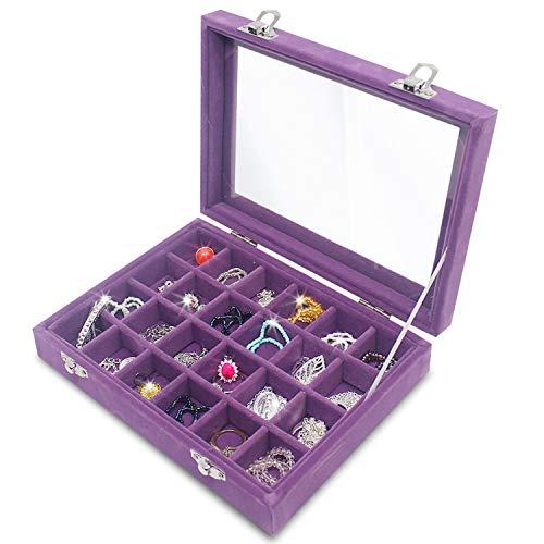Clear Lid 24 Grid Small Jewelry Box ~ Showcase Display Storage For Rings Earrings Bracelet ~ Secure & Travel Friendly (Purple)
