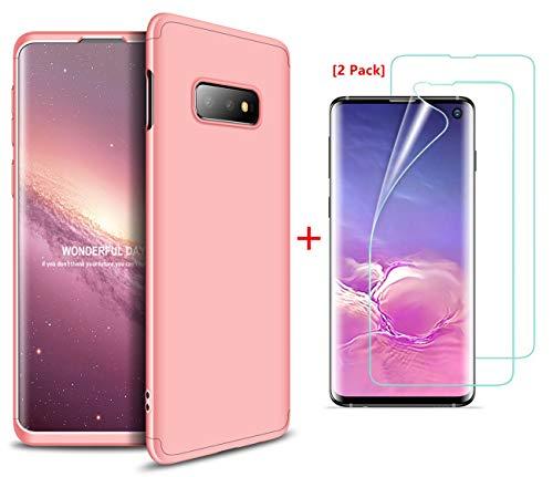JOYTAG Cover Compatibile Samsung Galaxy S10E, Custodia + Proteggi schermo[2 Packs] a 360°PC hard case-Oro rosa