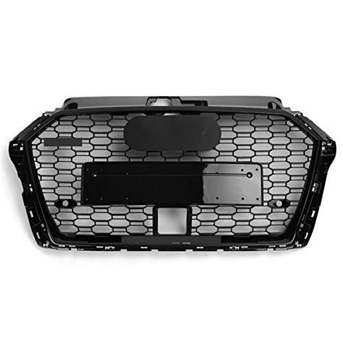 PPCP Bumper grill, car front with ACC hole for Audi A3 S3 8V 2017 2018 2019 Front Grille RS3 Look Network with Black & Silver Emblem,with Black Emblem