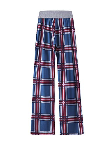 Kelinfei Women Drawstring Palazzo Wide Leg Lounge Pants Pajama Pants Sleepwear Yoga Pants (Dark Blue, S)