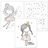 timalo® 3 Stück Kinderzimmer Bilder Set - Mädchen Poster
