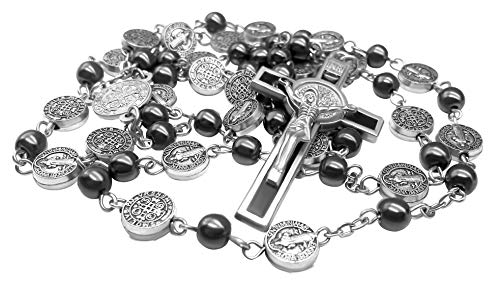Collana di Rosario Ematite Cattolico Medaglia di San Benedetto e Croce di Gesù Bellissimo amuleto religioso nel negozio di velluto Nazareth Store