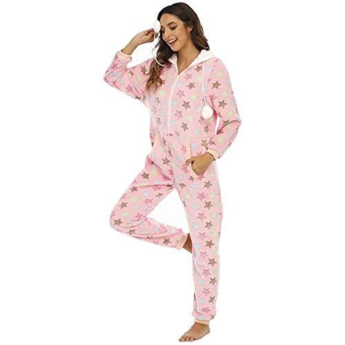 WANCHDP Mono de mujer de franela, mono de una pieza, pijama de entrenamiento, traje de cuerpo entero, con capucha y cremallera Estrellas rosas XL