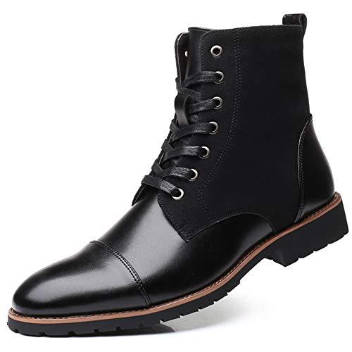 XI-GUA Männer Spitze weiche Leder hohe Stiefel warme handgemachte beiläufige Spitze rutschfeste Verschleißschuhe
