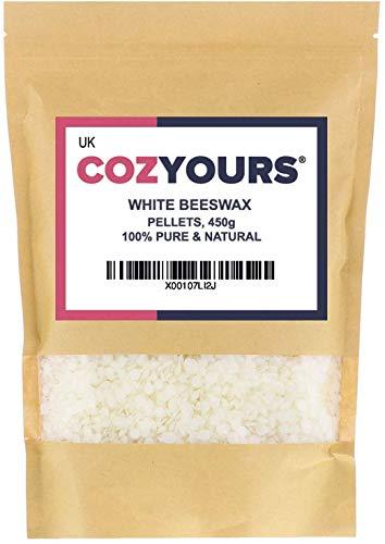 Cozyours Granulés de cire d'abeille blanche 450 g, naturel, pur, pour travaux manuels et cosmétiques