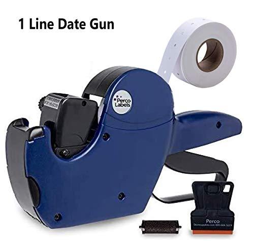 Perco 1 Line Date Gun: 8 Digit 1 Line Date Label Gun Preloaded with Roll of 1000 White Labels, Preloaded Ink Roll