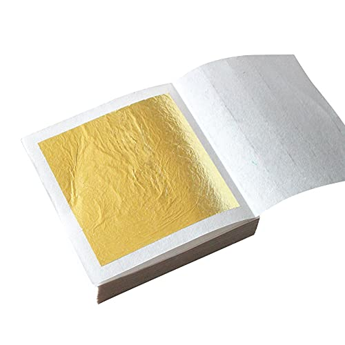 Hileyu Gold Leaf 30 Blatt Echte Blattgold Essbar 24 Karat Goldfolie 4.33 * 4.33cm zum Basteln Lebensmittel Kuchen Backen Torten Dekorfolie Kunsthandwerk essbares Gold