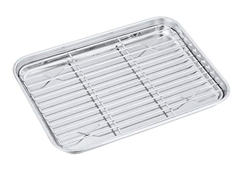 Toaster Oven Pan with Rack Set, P&P...