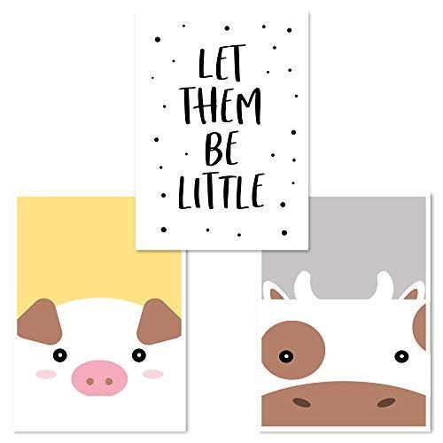 Kinderzimmer Poster Set 3 Stück, Babyzimmer Deko, DINA 4, Junge Mädchen, (Schwein, Be Little, Kuh)