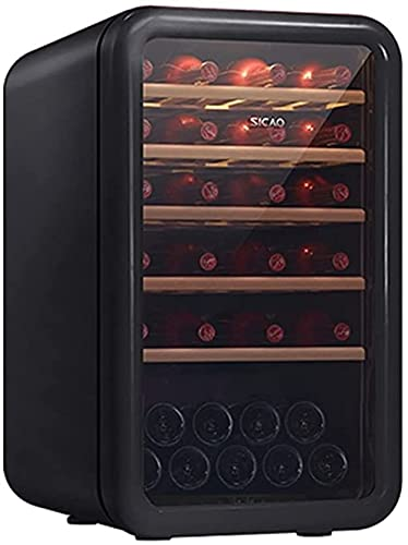 FREEZYMAN 35-Bottle Wine Cooler, Home Independent Wine Cellar, Digital Display Constant Temperature Wine Cooler, Retro Refrigerator, Beverage Ice Bar (Color : Black, Size : 48.56482.7cm)