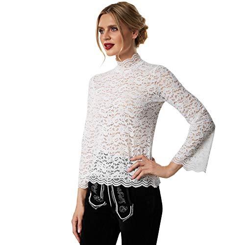 dressforfun 900811 Elegante Spitzen Trachtenbluse, Langarm, Trompetenärmel, Blumenmuster, weiß - Diverse Größen - (XL | Nr. 303193)