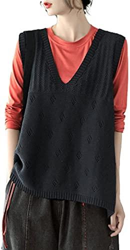 女性用Vネックニットルーズノースリーブセーターベスト (ブラック,XL)