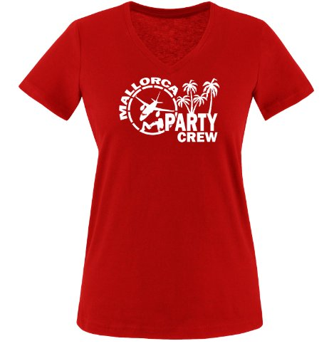 Comedy Shirts - Mallorca Party Crew - Style1 - Damen V-Neck T-Shirt - Rot/Weiss Gr. XL