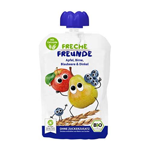 FRECHE FREUNDE Bio Quetschie Apfel, Birne, Blaubeere & Dinkel, Fruchtmus mit Getreide im Quetschbeutel für Babys ab dem 6. Monat, vegan, 6er Pack (6 x 100 g)