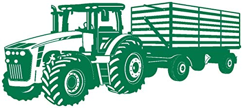 Samunshi® Wandtattoo Traktor mit Anhänger Trecker Kinderzimmer Kinder Wandaufkleber in 8 Größen und 20 Farben (100x42cm grün)